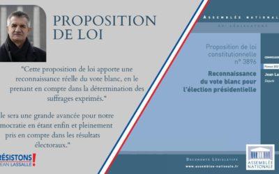 Proposition de loi de Jean Lassalle : Pour une reconnaissance effective du vote blanc