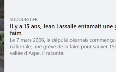 Grève de la faim de Jean Lassalle, article de Sud Ouest