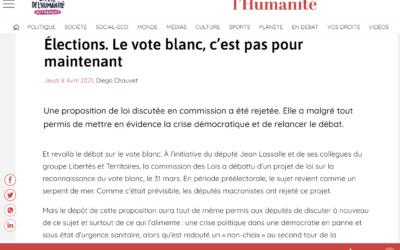 Article de L'Humanité sur ma PPL vote blanc