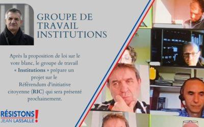 """Groupe de travail """"Institutions"""" : projet en cours sur le RIC"""