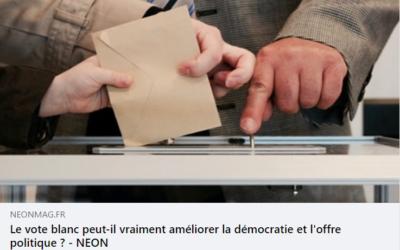 Article de Néon Mag sur le vote blanc