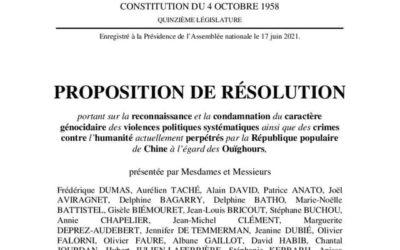 Reconnaître et condamner le génocide des Ouïghours
