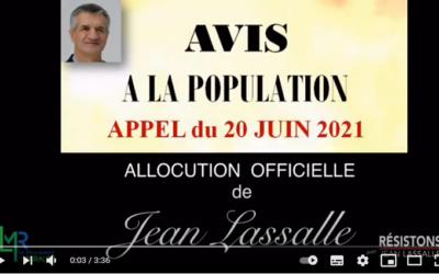 Appel du 20 juin 2021 pour le 1er tour des Régionales en vidéo