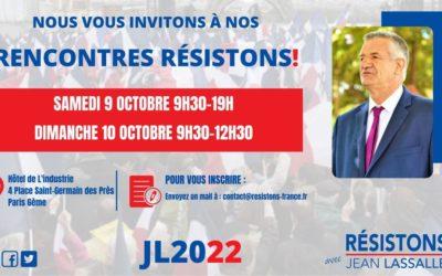 Participez aux Rencontres Résistons! les 9 et 10 octobre prochain