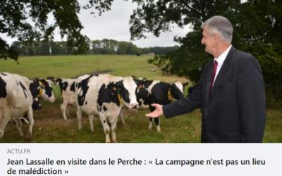 Article Actu.fr sur le déplacement de Jean Lassalle dans l'Orne