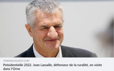 """Article de Tendance Ouest """"Présidentielle 2022. Jean Lassalle, défenseur de la ruralité, en visite dans l'Orne"""""""