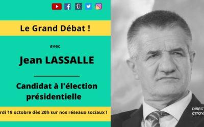 Mardi 19 octobre à 20h : Jean Lassalle sur Direct citoyens